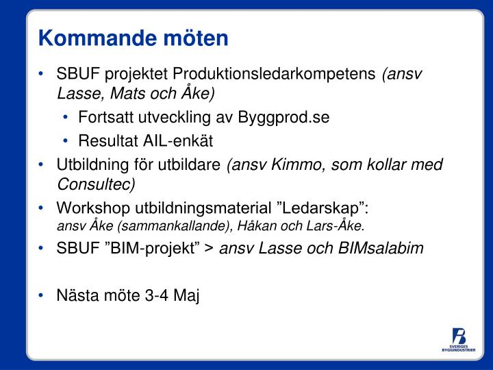 SBUF projektet Produktionsledarkompetens
