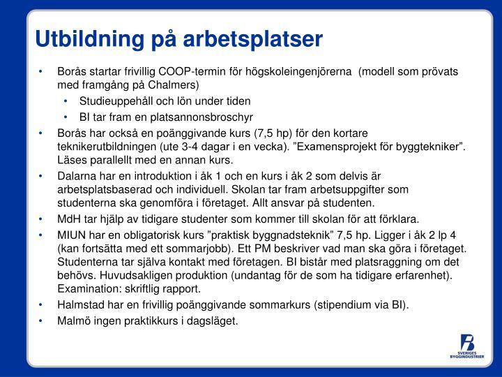 Borås startar frivillig COOP-termin för högskoleingenjörerna  (modell som prövats med framgång på Chalmers)