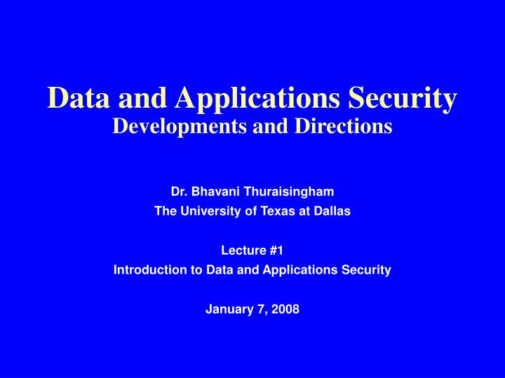 Data and Applications Security