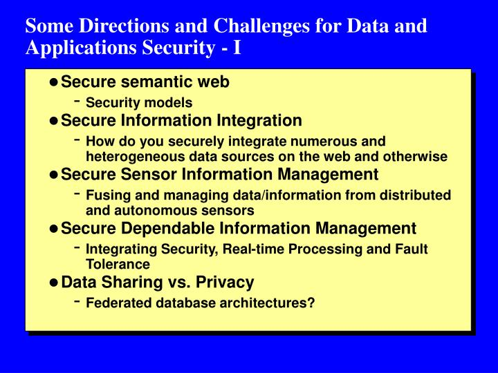 Some Directions and Challenges for Data and Applications Security - I