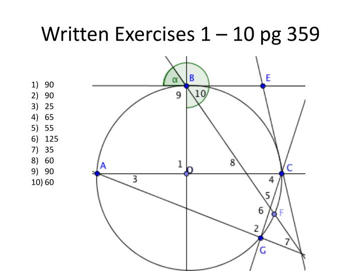 Written Exercises 1 – 10