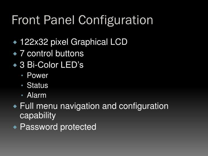 Front Panel Configuration