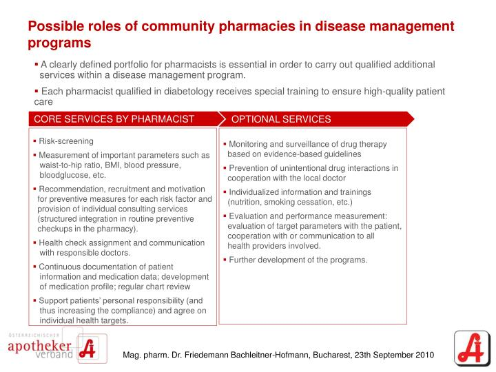 Possible roles of community pharmacies in disease management programs