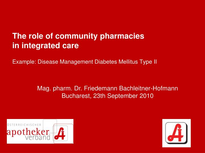 The role of community pharmacies