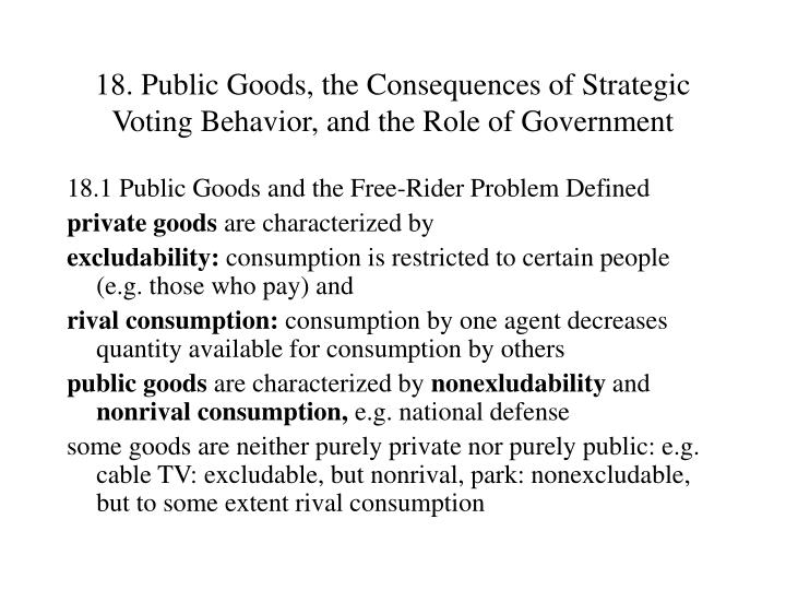 18 public goods the consequences of strategic voting behavior and the role of government