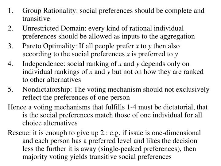 Group Rationality: social preferences should be complete and transitive