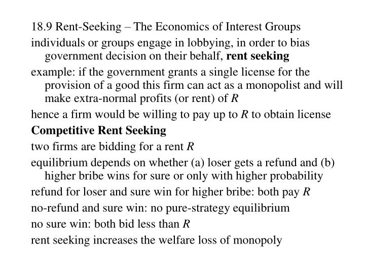 18.9 Rent-Seeking – The Economics of Interest Groups