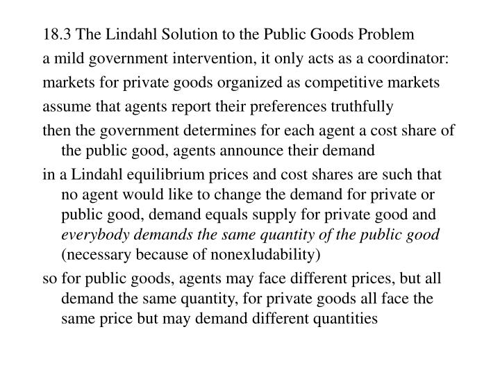 18.3 The Lindahl Solution to the Public Goods Problem