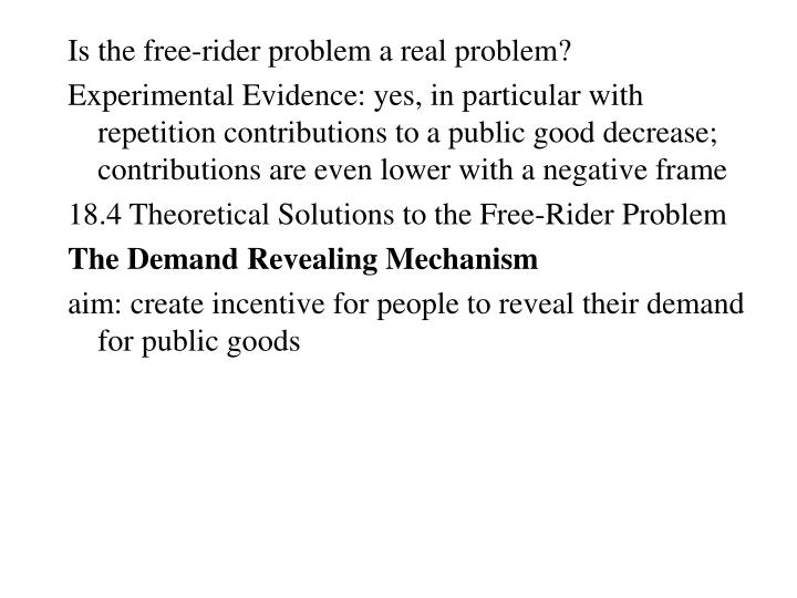 Is the free-rider problem a real problem?
