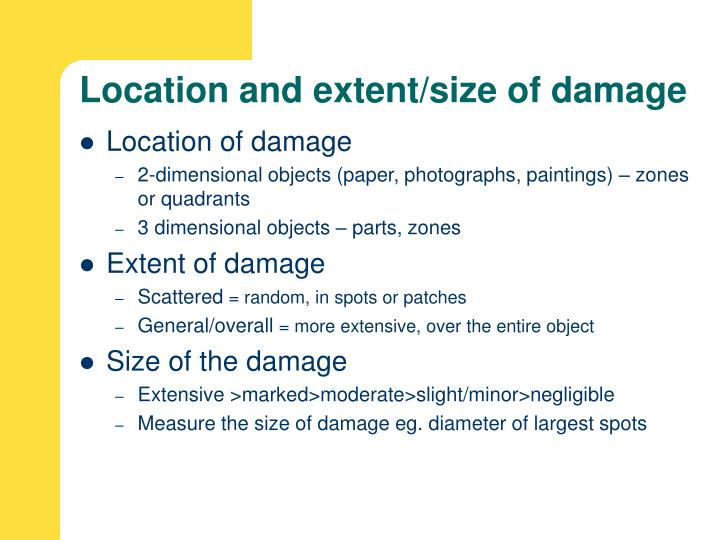 Location and extent/size of damage