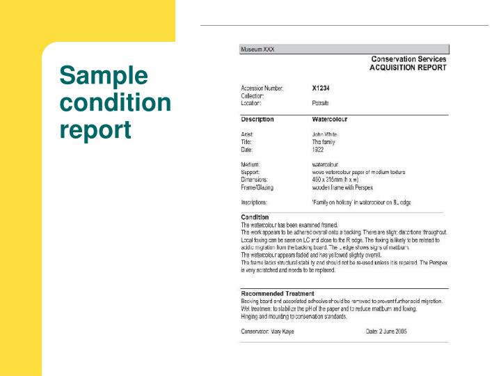 Sample condition report