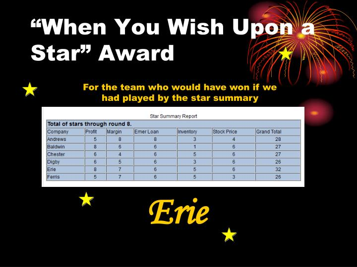 """When You Wish Upon a Star"" Award"