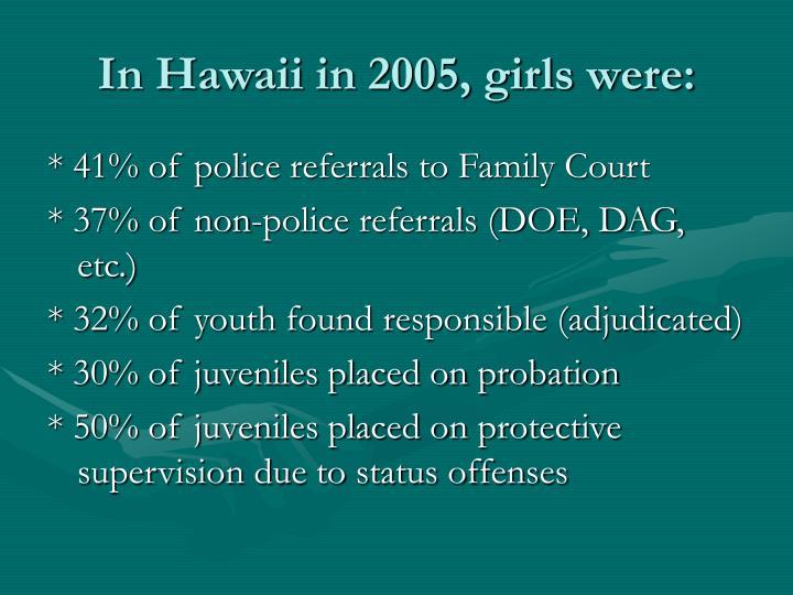 In Hawaii in 2005, girls were: