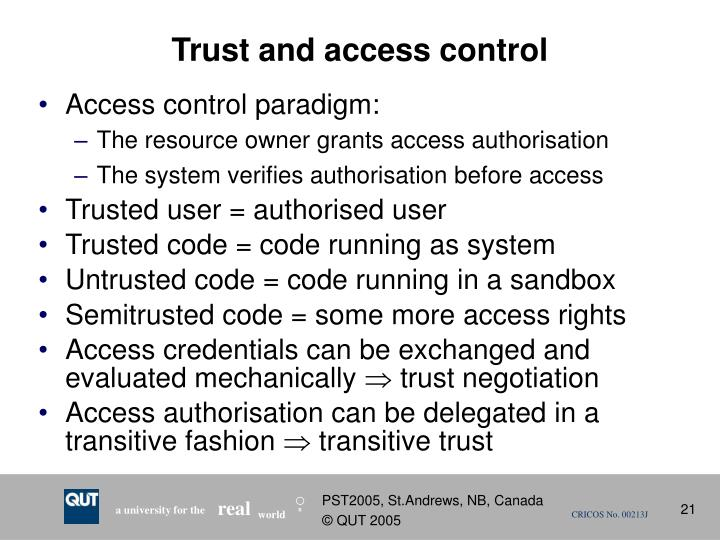 Trust and access control