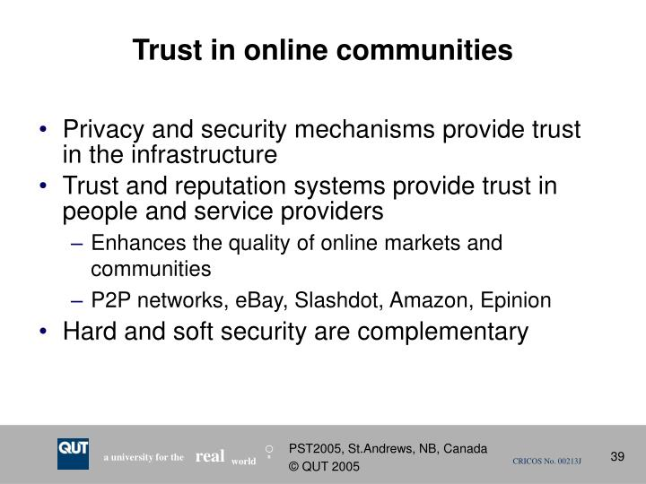 Trust in online communities