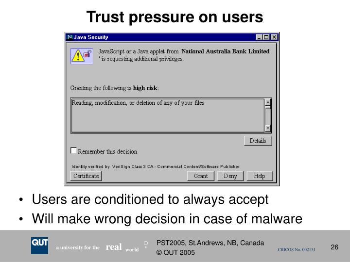 Trust pressure on users