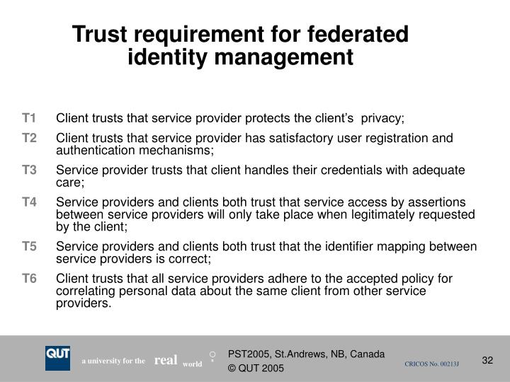 Trust requirement for federated identity management