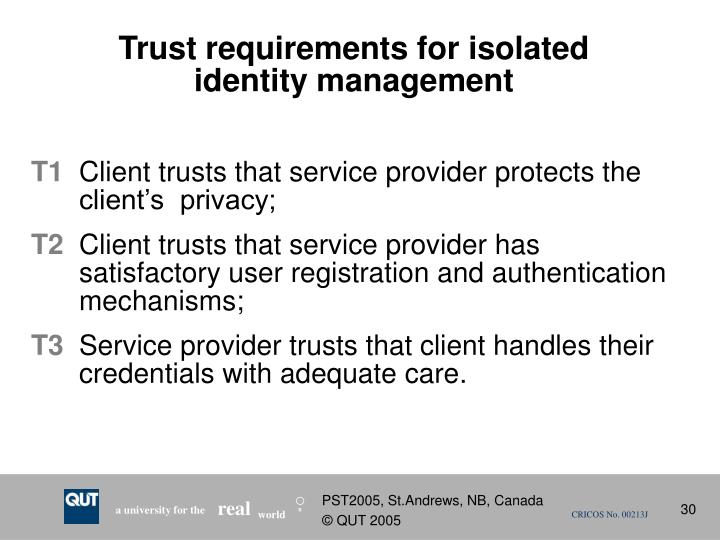Trust requirements for isolated identity management