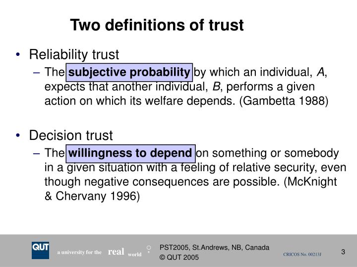 Two definitions of trust