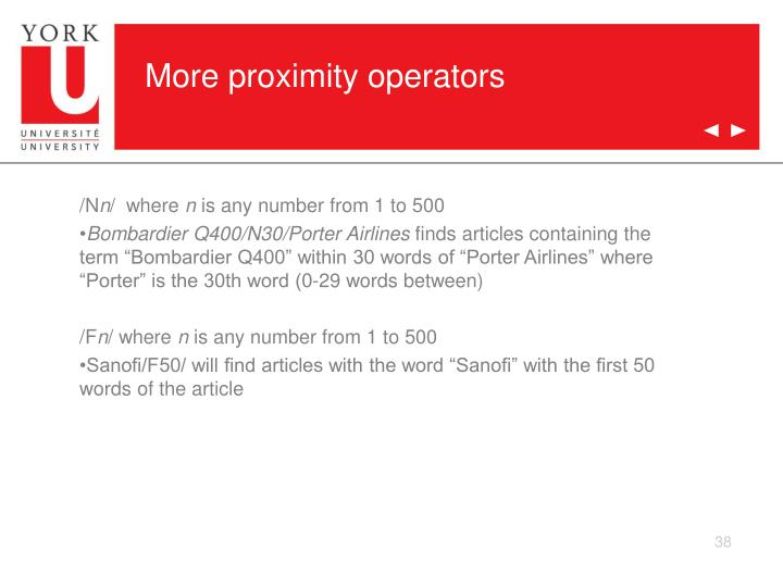 More proximity operators