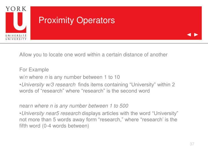 Proximity Operators