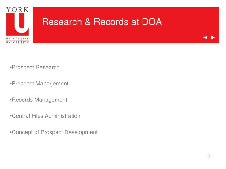 Research records at doa