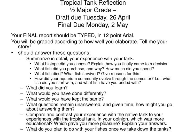 Tropical tank reflection major grade draft due tuesday 26 april final due monday 2 may