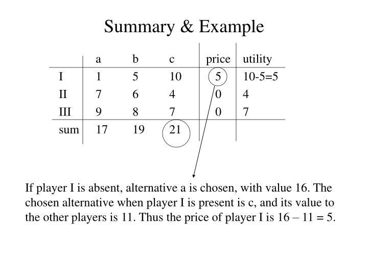 Summary & Example