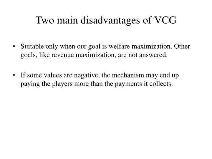 Two main disadvantages of VCG