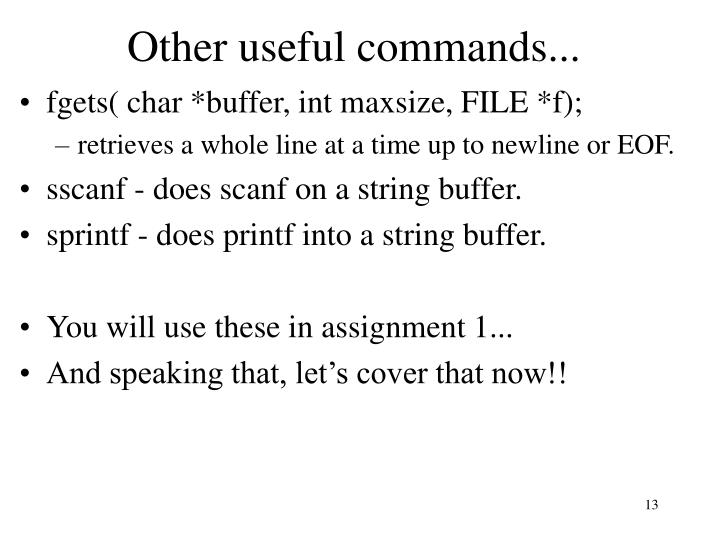 Other useful commands...