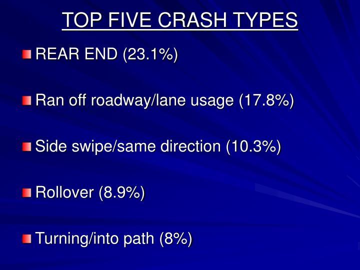 TOP FIVE CRASH TYPES