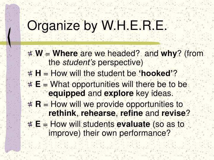 Organize by W.H.E.R.E.