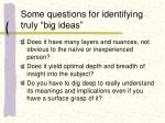 some questions for identifying truly big ideas