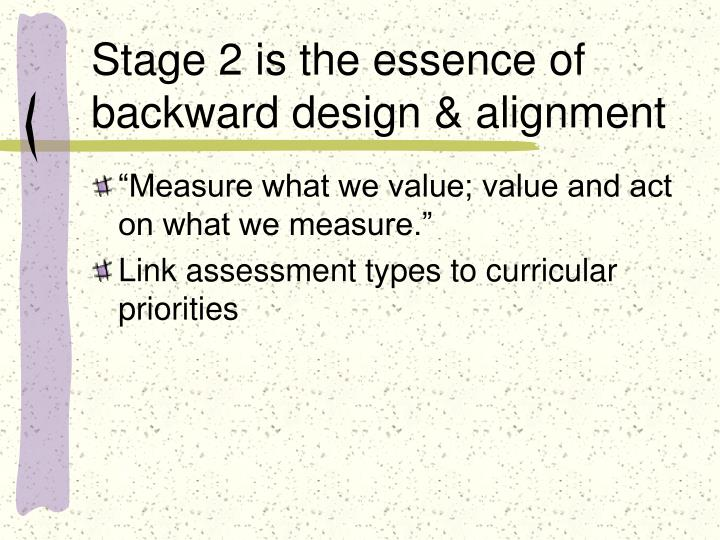 Stage 2 is the essence of backward design & alignment