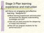 stage 3 plan learning experience and instruction