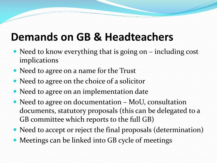 Demands on GB &