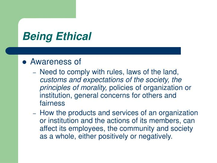 Being Ethical