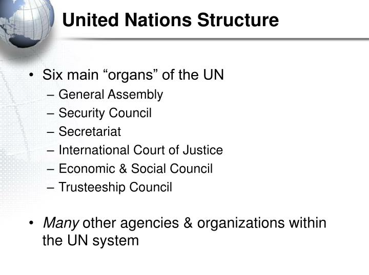 the structure of the united nations Investigating the highs and lows of united nations work since it was founded in 1945.