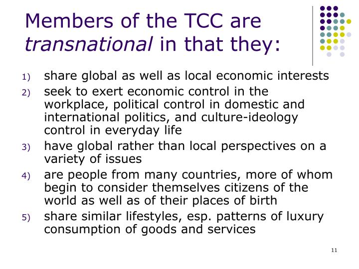 Members of the TCC are