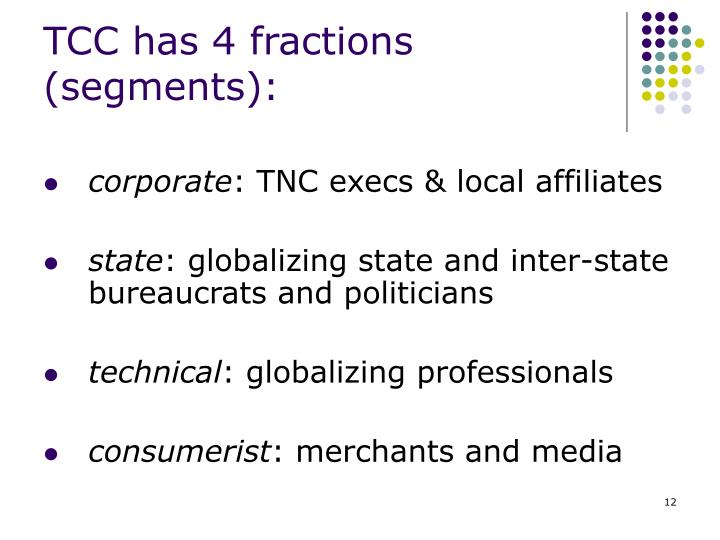 TCC has 4 fractions (segments):