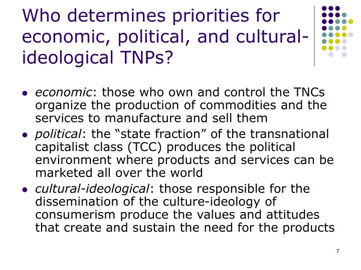 Who determines priorities for economic, political, and cultural-ideological TNPs?
