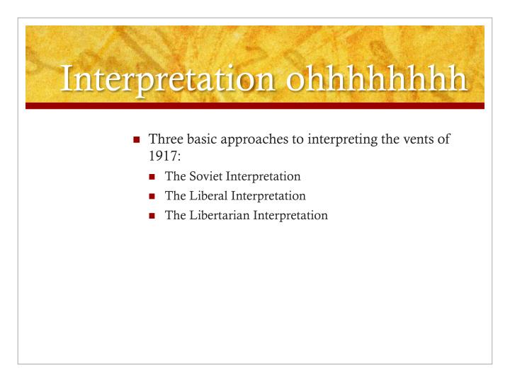 Interpretation ohhhhhhhh