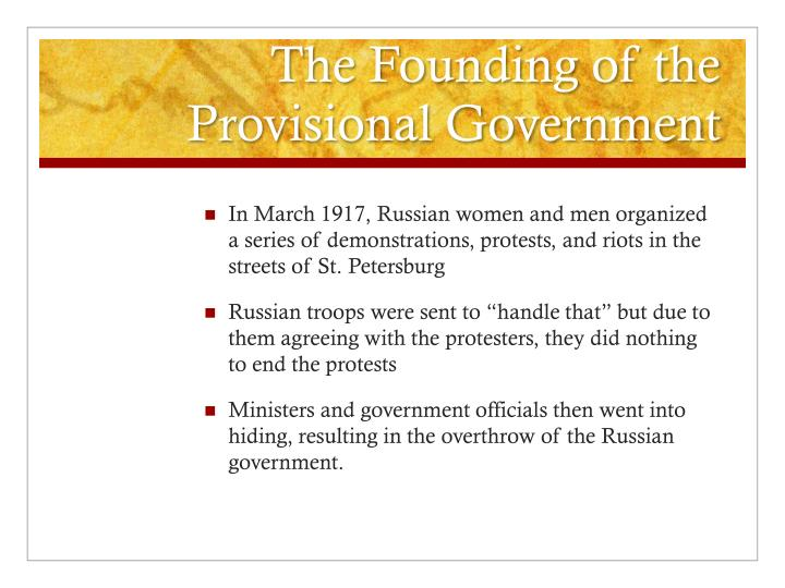 The Founding of the Provisional Government