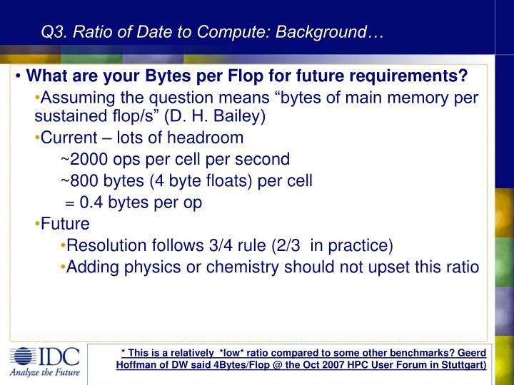 Q3. Ratio of Date to Compute: Background…