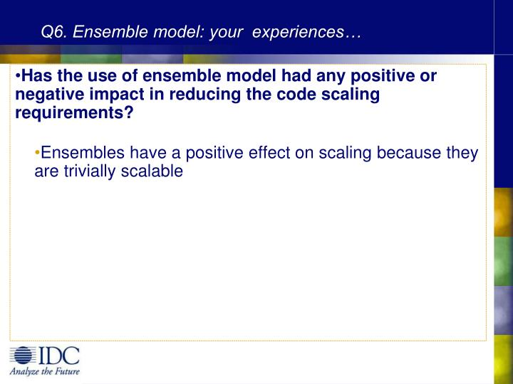 Q6. Ensemble model: your  experiences…