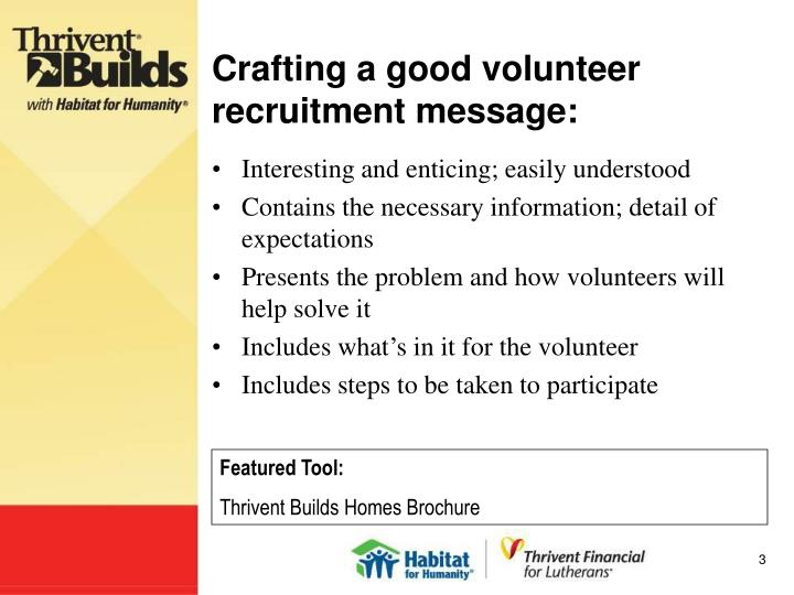 Crafting a good volunteer recruitment message