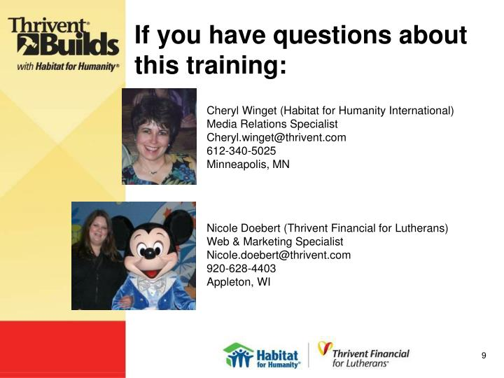 If you have questions about this training: