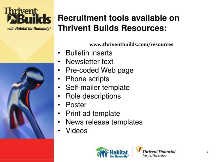 Recruitment tools available on Thrivent Builds Resources: