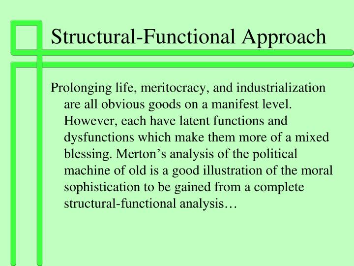 structural functional approach to education Functionalism is a theory of society that focuses on the structures that create the society and on how the society is able to remain stable also check out t.
