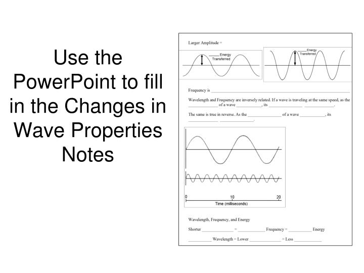 Use the powerpoint to fill in the changes in wave properties notes